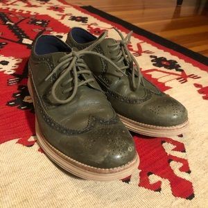 Olive Green Coal Han Wingtip dress shoes
